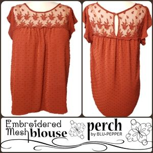 Perch Embroidered Mesh Blouse
